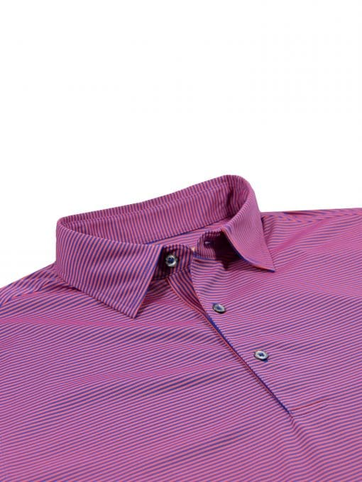 Mens Striped Golf Polo Shirt - Royal / Spice
