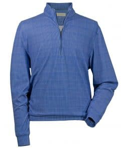 Mens Navy Plaid Lightweight Fleece Golf Pullover