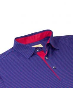 Mens Performance Golf Polo Shirt - Navy / Red