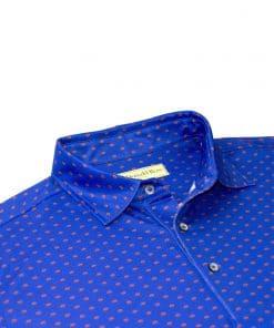 Mens Classic Neat Foullard Print Performance Golf Polo Shirt