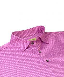 Mens Classic Neat Paisley Print Performance Golf Polo Shirt
