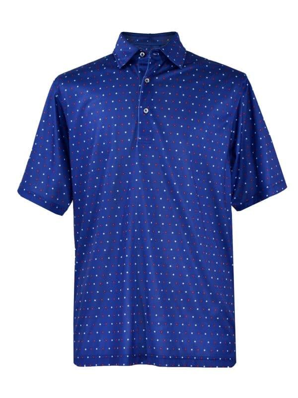 Mens Patriotic Stars Print Performance Golf Polo Shirt