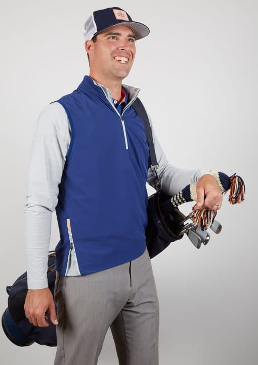 Mens Stretch Performance Pullover Golf Vest - Navy Blue SPORT