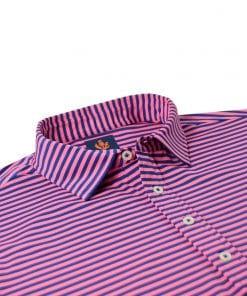 Mens Performance SPORT Golf Polo Shirt - Navy Blue / Peony Pink