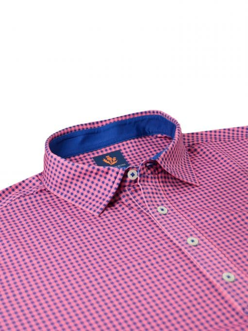 Mens Performance SPORT Golf Polo Shirt - Gingham Check Print - White / Peony Pink