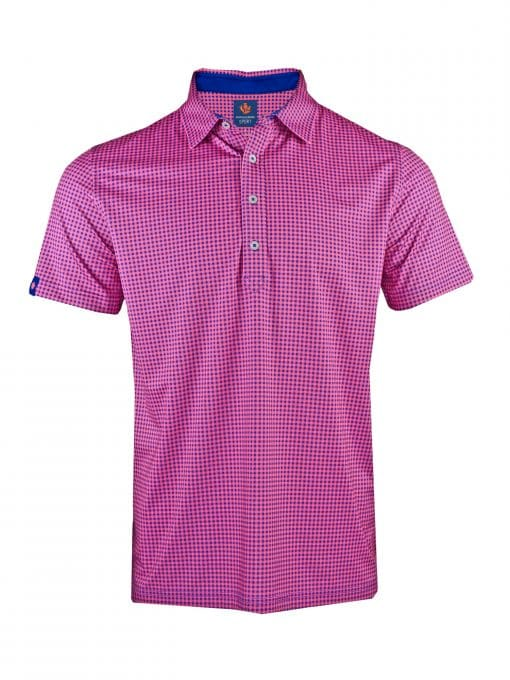 Mens Performance SPORT Golf Polo Shirt - Gingham Check Print - Navy Blue / Peony Pink