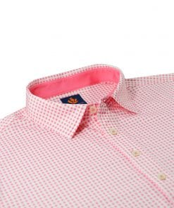 Mens Performance SPORT Golf Polo Shirt - Gingham Check Print - Peony Pink / White