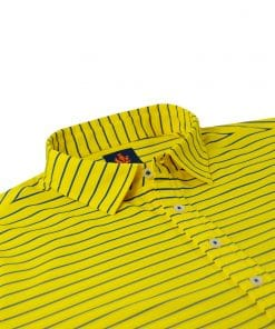 Mens Performance SPORT Golf Polo Shirt - Canary Yellow / Royal Blue