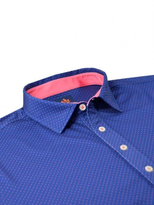 Mens Performance SPORT Golf Polo Shirt - Dot Print - Navy Blue / Peony Pink