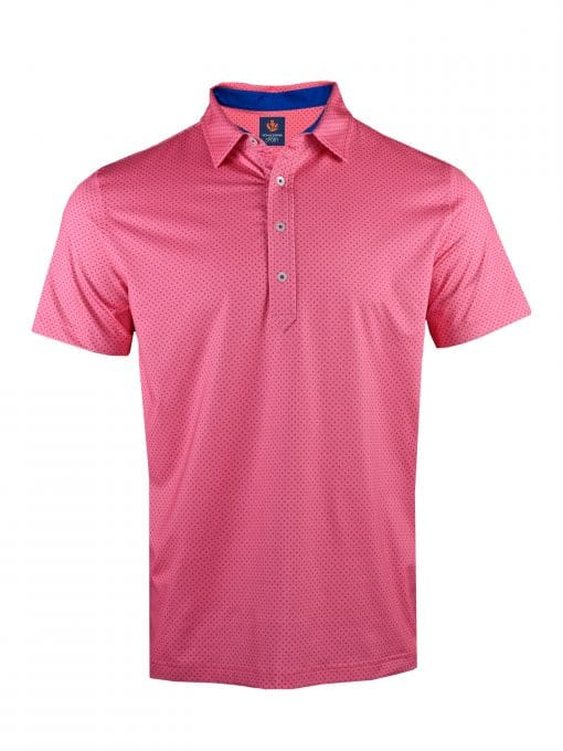 Mens Performance SPORT Golf Polo Shirt - Dot Print - Peony Pink / Navy Blue