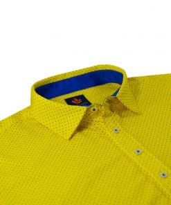 Mens Performance SPORT Golf Polo Shirt - Dot Print - Canary Yellow / Royal Blue