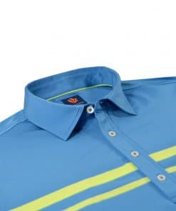 Mens Performance SPORT Golf Polo Shirt - Chest Stripe - Coastal Blue / Aloe Green