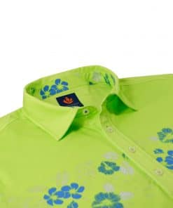 Mens Performance SPORT Golf Polo Shirt - Tropical Hawaiian Floral Print - Aloe Green / Coastal Blue