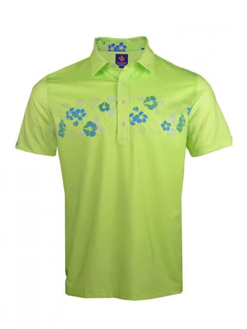 Mens Performance SPORT Golf Polo Shirt - Tropical Hawaiian Floral Print - Aloe Green / Coastal Blue