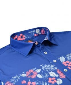 Mens Performance SPORT Golf Polo Shirt - Tropical Hawaiian Floral Print - Navy / Peony Pink