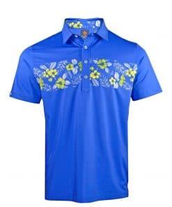 Mens Performance SPORT Golf Polo Shirt - Tropical Hawaiian Floral Print - Royal Blue / Yellow