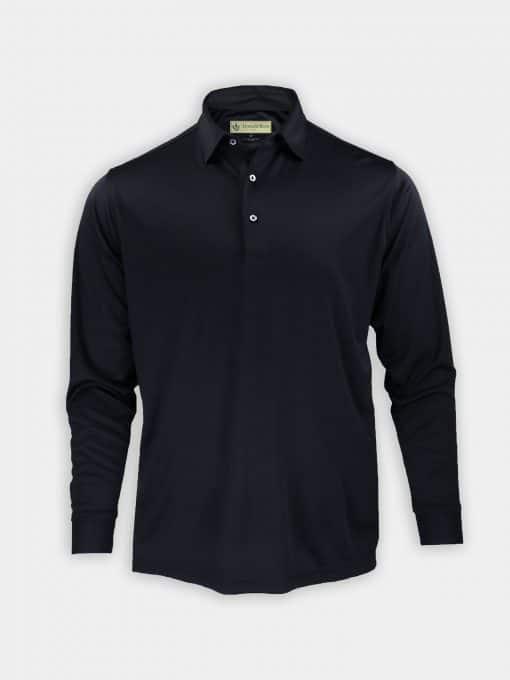 Long Sleeve Self Collar Jersey - Black DR159-MSP-001_FV
