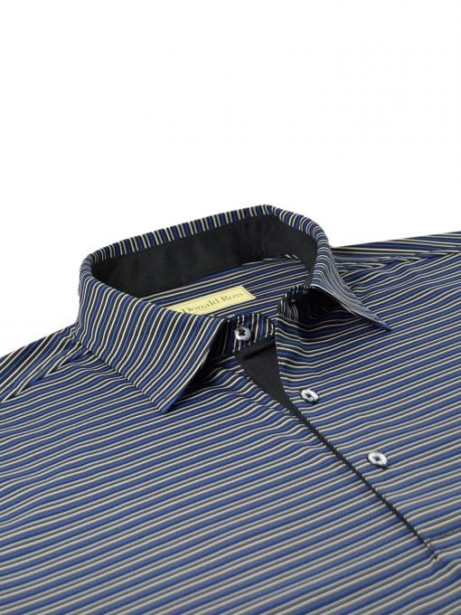 Multi Color Stripe Jersey - Black/Royal Multi DR021-220-001