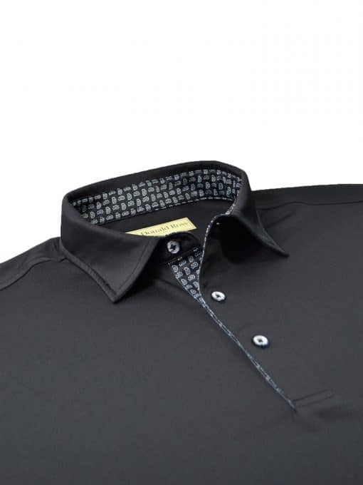 Scallop Paisley Placket Solid Jersey - Black/Granite DR076SP-220-001