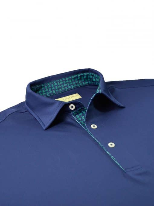 Scallop Paisley Placket Solid Jersey - Navy/Emerald DR076SP-220-400