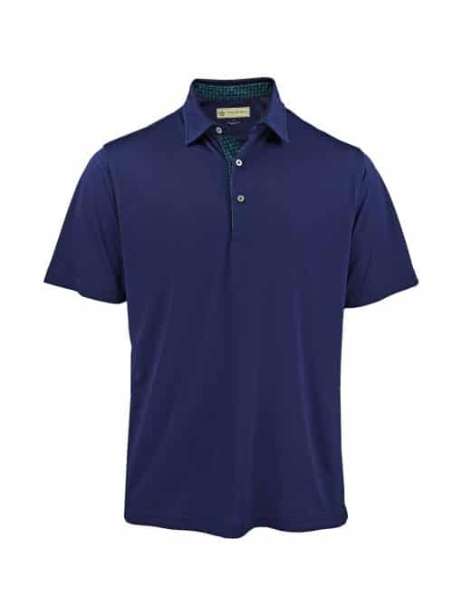 Scallop Paisley Placket Solid Jersey - Navy/Emerald DR076SP-220-400_FV