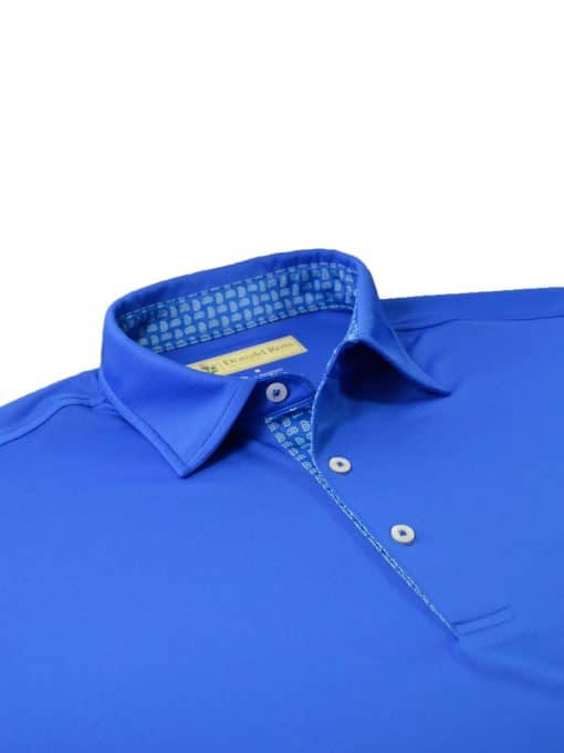 Scallop Paisley Placket Solid Jersey - Royal/Granite DR076SP-220-440