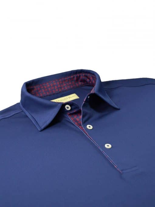 Scallop Paisley Placket Solid Jersey - Navy/Scarlet DR076SPA-220-400