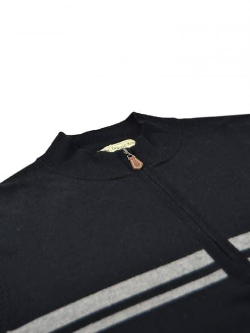 Chest Stripe Merino ½ Zip Pullover - Black/Graphite DR520-220-001_FV