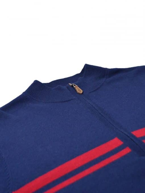 Chest Stripe Merino ½ Zip Pullover - Navy/Red DR520-220-400_FV