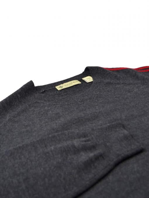 Italian Merino Sleeve Stripe Crewneck - Charcoal/Scarlet DR521-220-051_FV