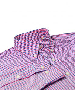 Gingham Check Woven Sportshirt - Navy/Scarlet/White DR633-220-400-edited