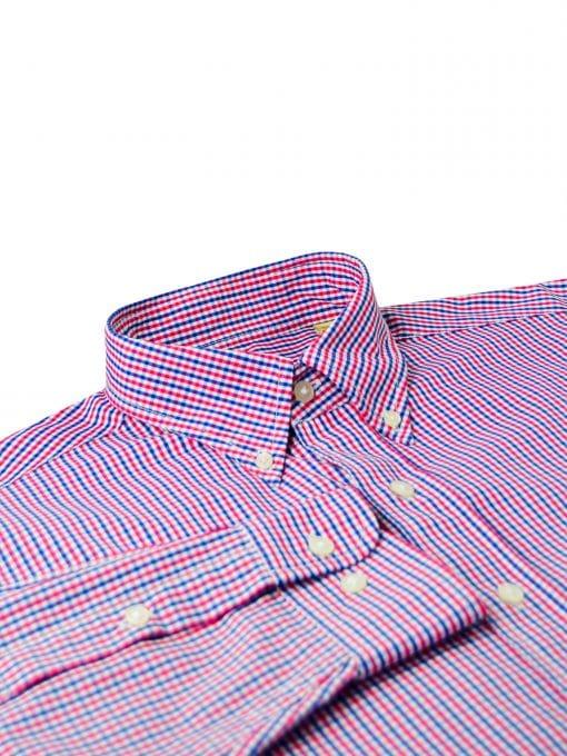 Gingham Check Woven Sportshirt - Navy/Scarlet/White DR633-220-400-edited
