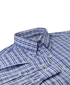Navy Plaid Woven Sportshirt - Navy/White DR634-220-400
