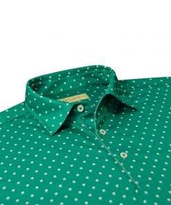 Four Leaf Clover Print Jersey - Emerald/Cream DRP028-220-301