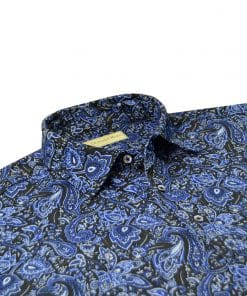 Novelty Paisley Print Jersey - Black/Royal Multi DRPAOP-220-001