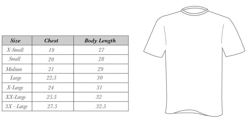 League T-Shirt RT-T-Shirt-Size-Guide