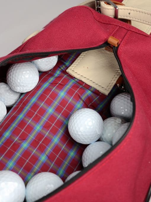 Waxed Canvas Golf Bag - Red IMG_2439