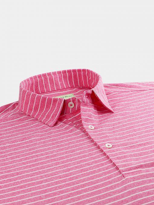 Pencil Stripe Melange Jersey - Pinkberry/Cream DR032-121-507