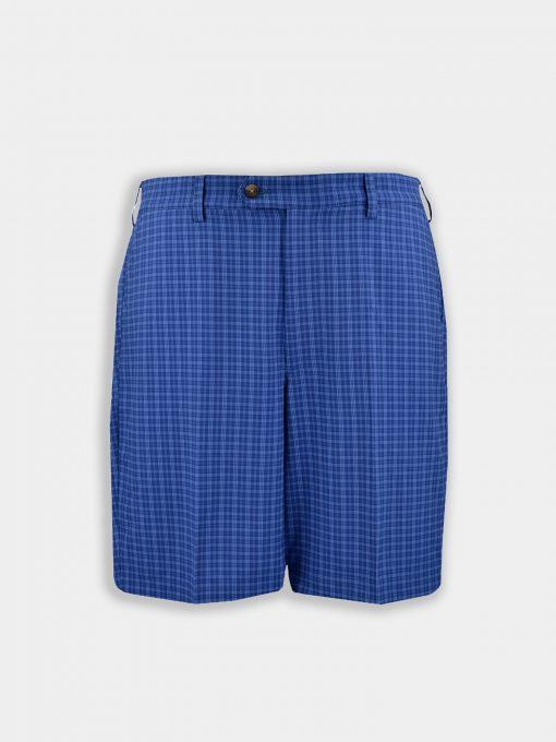 Walker Shorts - Plaid Pattern - Navy Tonal DR070-121-400_Grey-Background