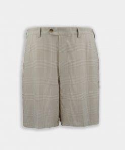 Walker Shorts - Prince Of Wales Pattern - Khaki Tonal DR071-121-210_Grey-Background