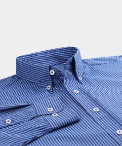 Mini Plaid Woven Sportshirt - Navy/Dolphin/Light Blue DR670-121-400