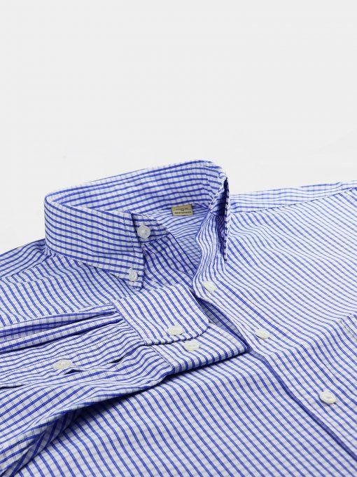 Royal Grid Check Woven Sportshirt - White/Royal DR674-121-100